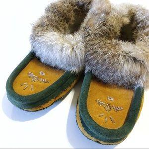 Suede rabbit fur trimmed moccasins